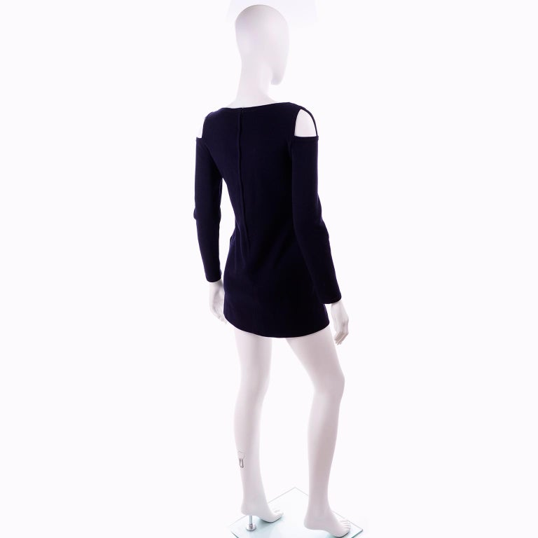 1960s Rudi Gernreich Navy Blue Wool Knit Vintage Dress With Cutout Shoulders In Excellent Condition For Sale In Portland, OR