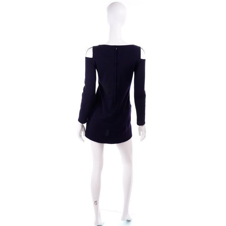 Women's 1960s Rudi Gernreich Navy Blue Wool Knit Vintage Dress With Cutout Shoulders For Sale