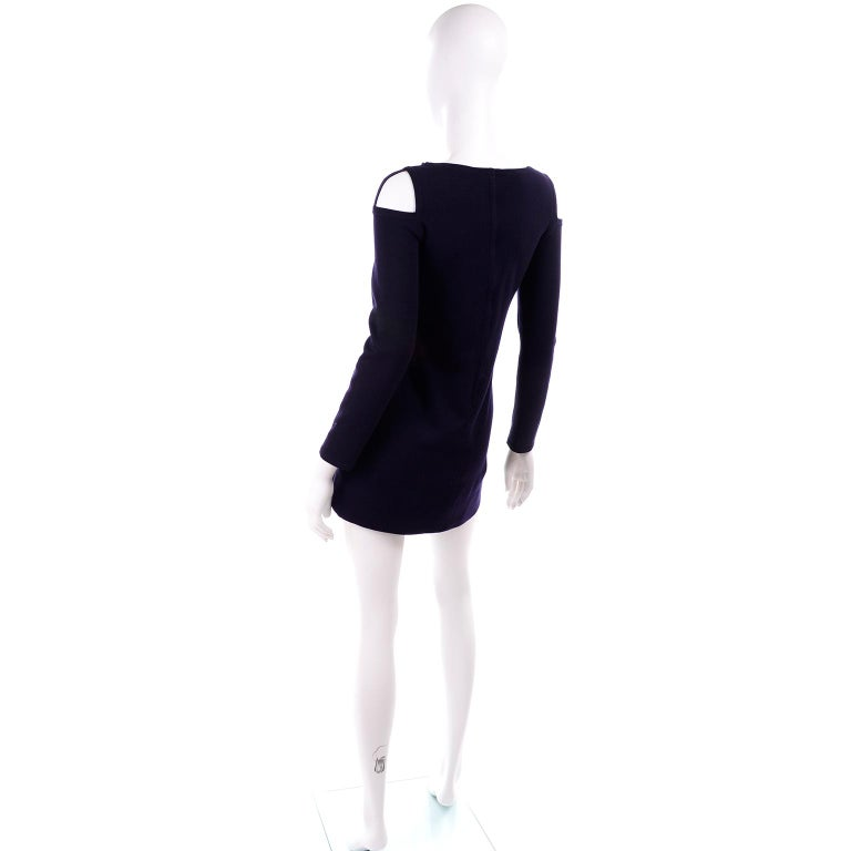 1960s Rudi Gernreich Navy Blue Wool Knit Vintage Dress With Cutout Shoulders For Sale 1