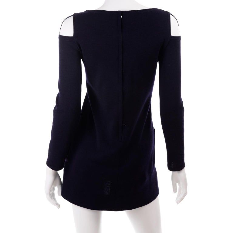 1960s Rudi Gernreich Navy Blue Wool Knit Vintage Dress With Cutout Shoulders For Sale 2