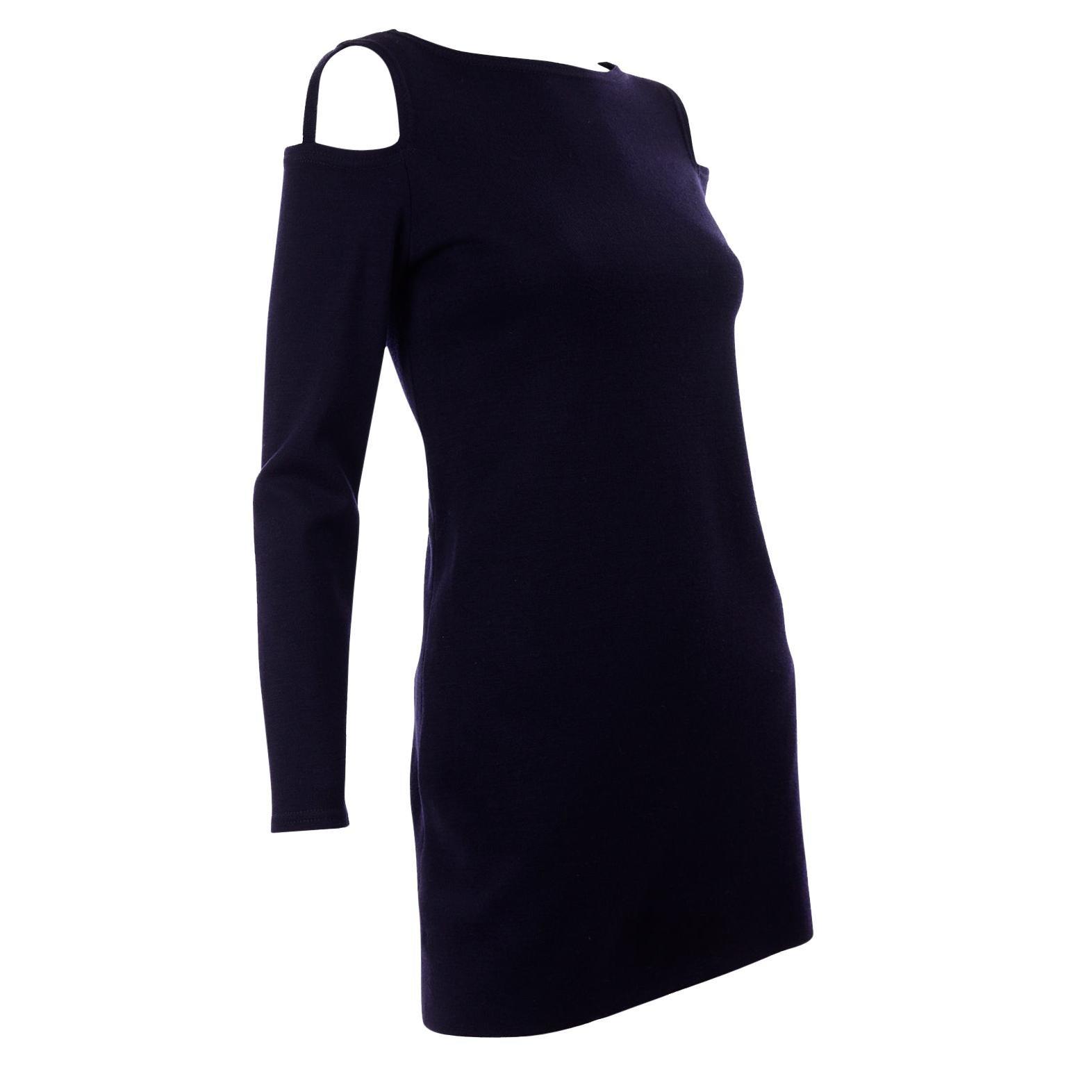 1960s Rudi Gernreich Navy Blue Wool Knit Vintage Dress With Cutout Shoulders
