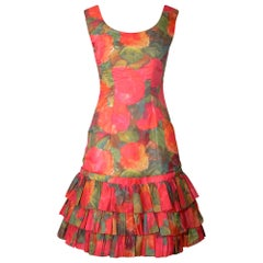 1960s Ruffle Tiered Orange and Pink Watercolour Floral Print Dress