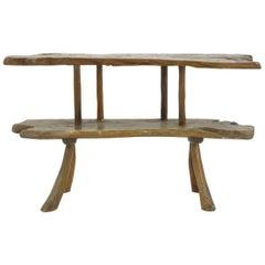 1960s Rustic Teak Console Table