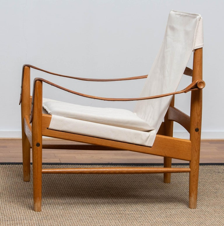 Canvas 1960s, Safari Lounge Chair by Hans Olsen for Viska Möbler in Kinna, Sweden