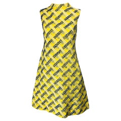 1960s Saks 5th Avenue Yellow + Blue Linen Embrodiered Raffia Sequin A Line Dress