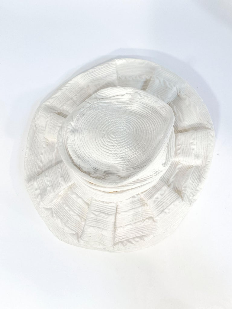 Women's or Men's 1960s Saks Fifth Ave Off-White Fashion Hat For Sale
