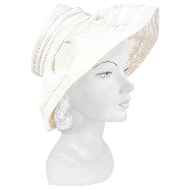 1960s Saks Fifth Ave Off-White Fashion Hat For Sale