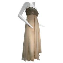 1960s Saks Fifth Avenue Cream Silk Chiffon Dress w/ Rhinestone Encrusted Bodice
