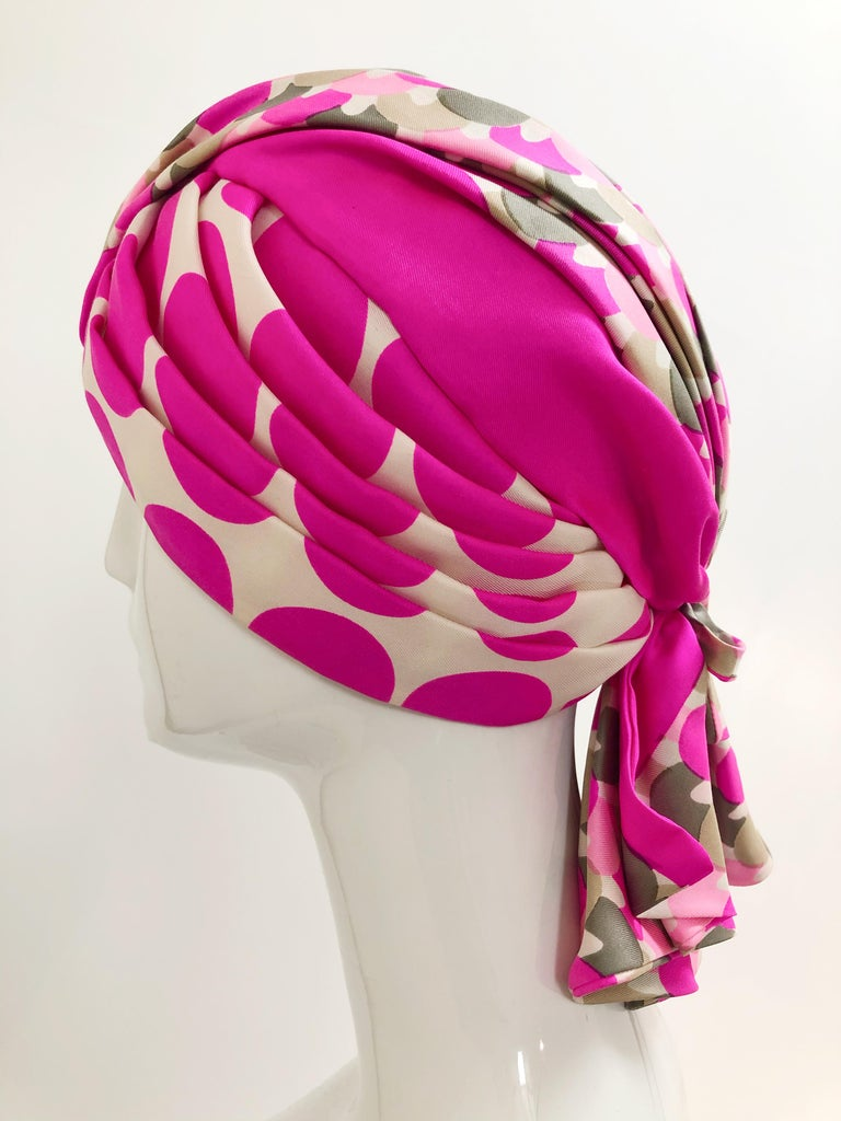 Beige 1960s Saks Fifth Avenue Pink Polka Dot Silk Mod Turban For Sale