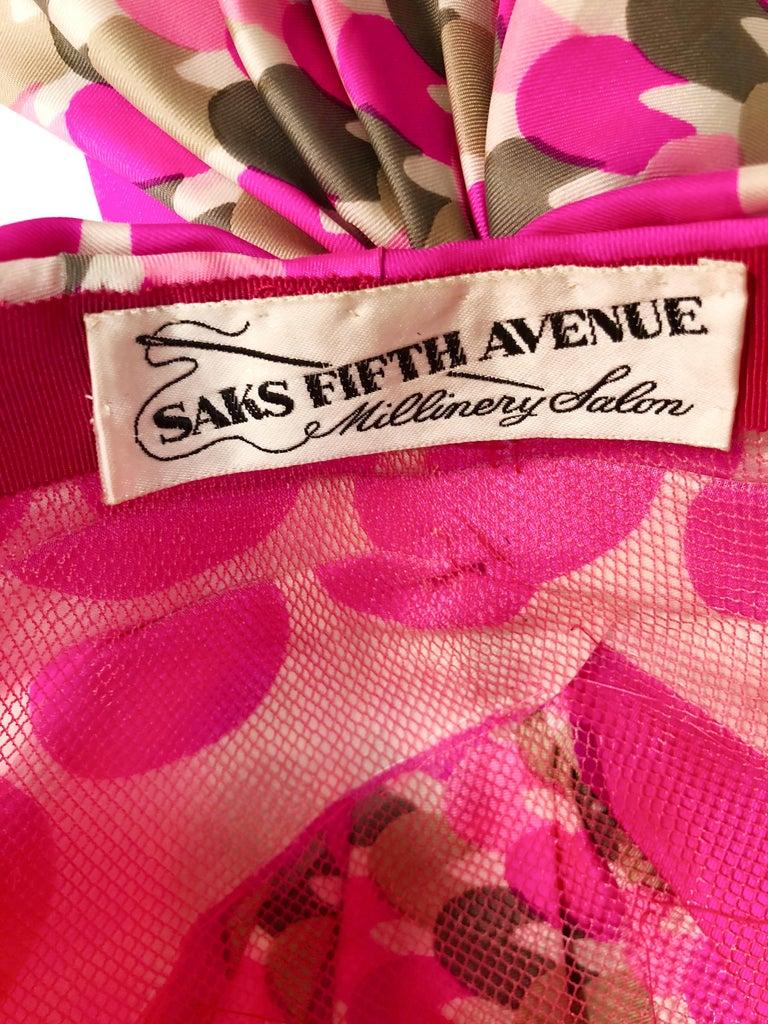 1960s Saks Fifth Avenue Pink Polka Dot Silk Mod Turban For Sale 1