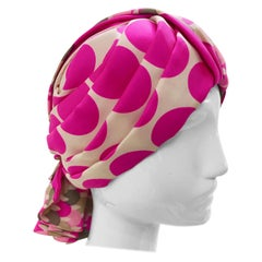 1960s Saks Fifth Avenue Pink Polka Dot Silk Mod Turban