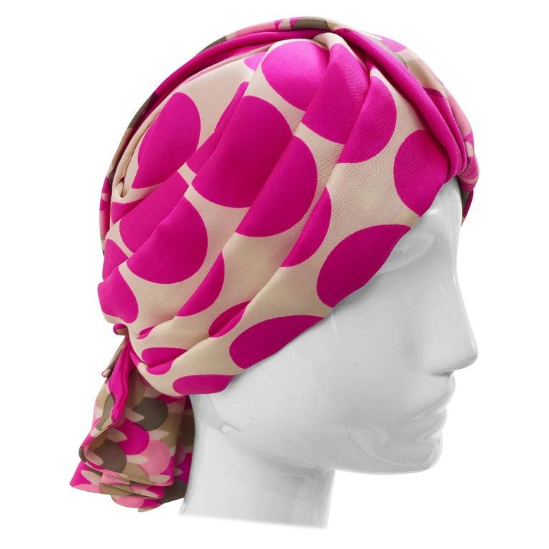 1960s Saks Fifth Avenue Pink Polka Dot Silk Mod Turban For Sale