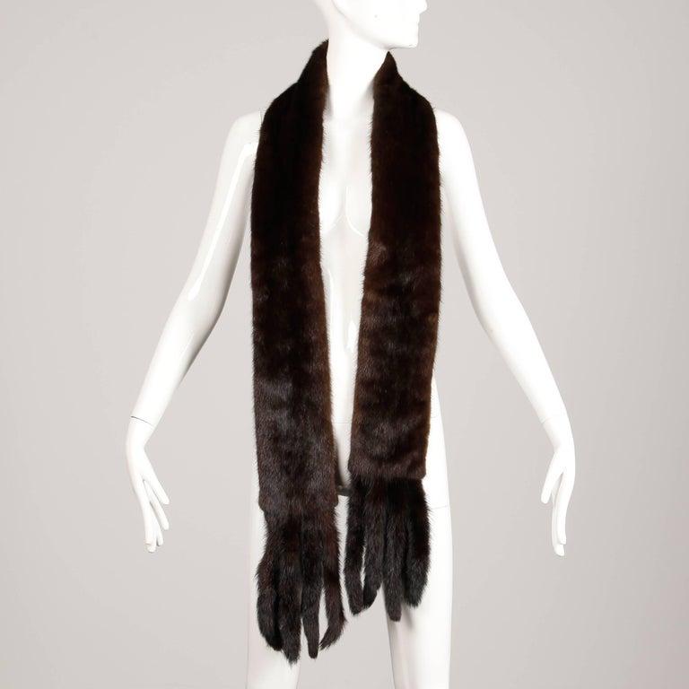 Black 1960s Saks Fifth Avenue Vintage Mahogany Mink Fur Scarf, Fling, Stole or Wrap For Sale
