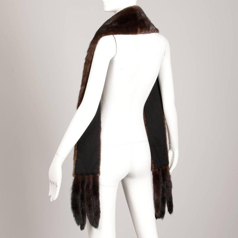 Women's or Men's 1960s Saks Fifth Avenue Vintage Mahogany Mink Fur Scarf, Fling, Stole or Wrap For Sale