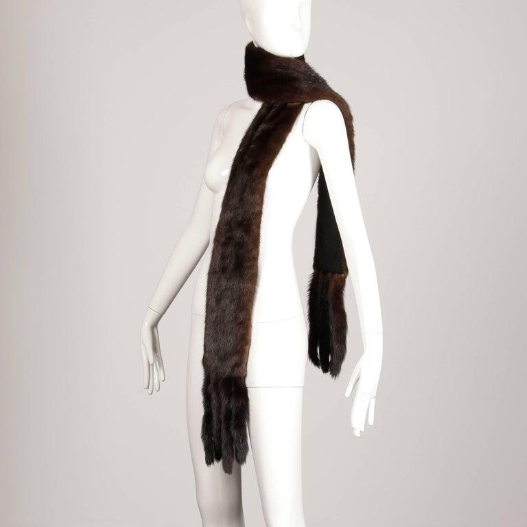 1960s Saks Fifth Avenue Vintage Mahogany Mink Fur Scarf, Fling, Stole or Wrap For Sale 1