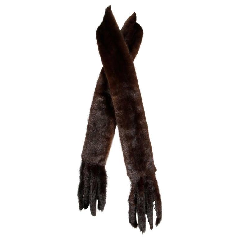 1960s Saks Fifth Avenue Vintage Mahogany Mink Fur Scarf, Fling, Stole or Wrap For Sale