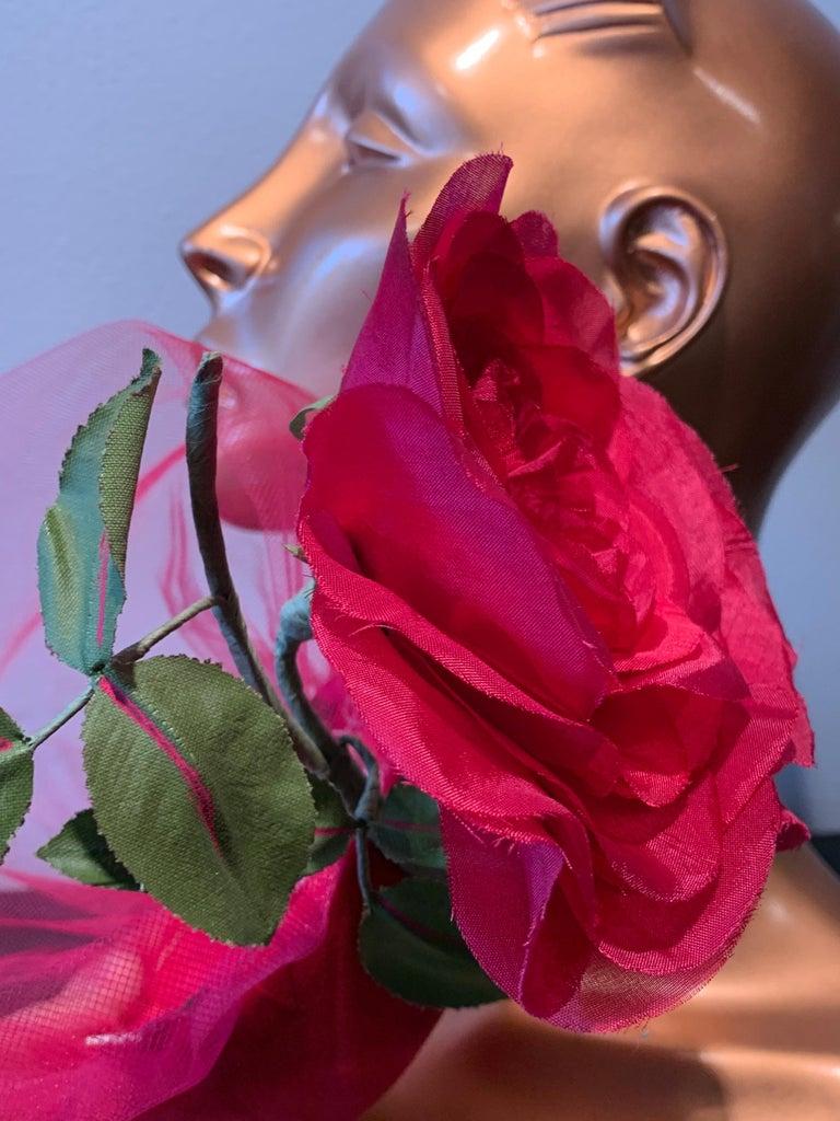 1960s Sally Victor Shocking Pink Toy Pillbox Hat W/ Extravagant Silk Rose & Veil For Sale 7