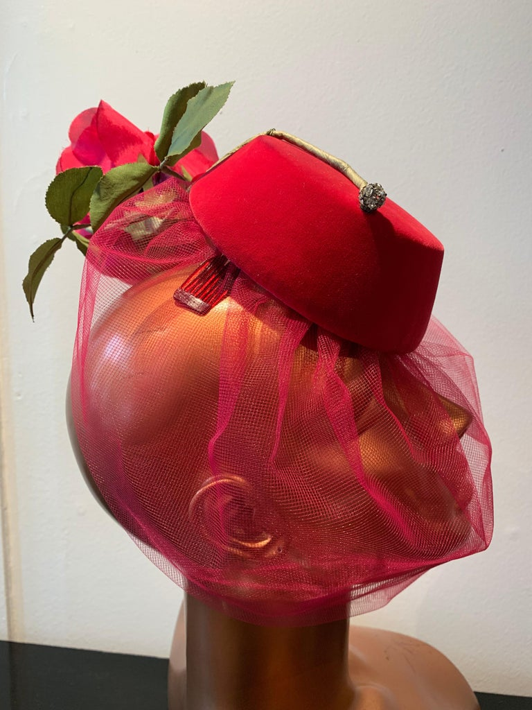Brown 1960s Sally Victor Shocking Pink Toy Pillbox Hat W/ Extravagant Silk Rose & Veil For Sale