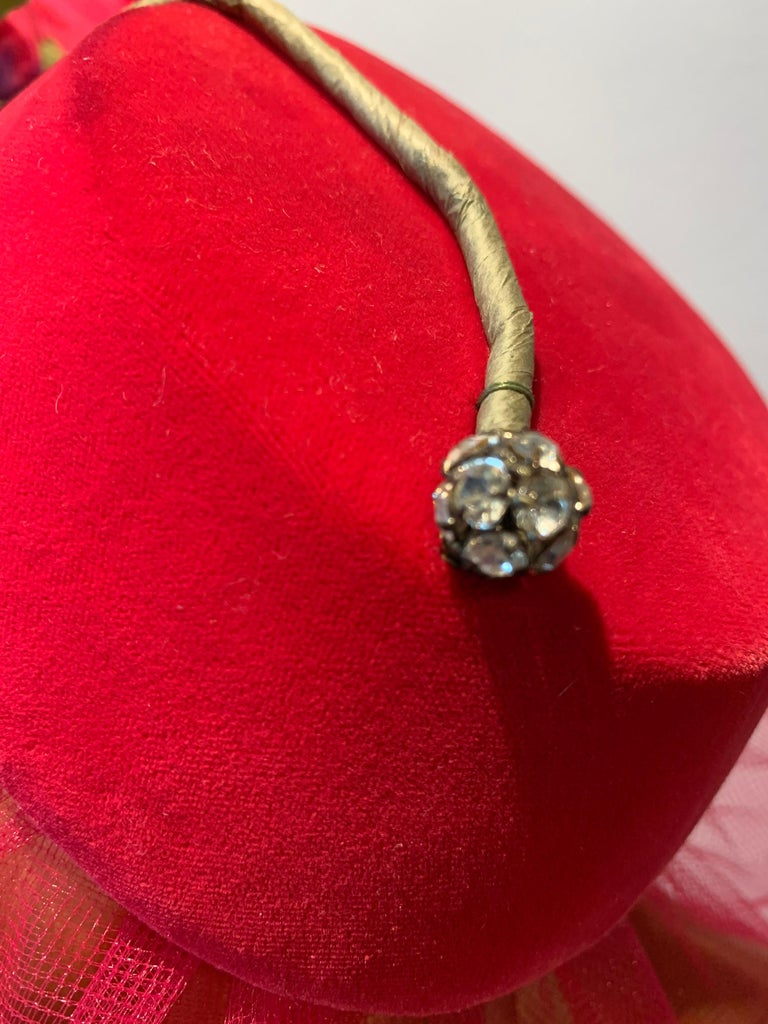 1960s Sally Victor Shocking Pink Toy Pillbox Hat W/ Extravagant Silk Rose & Veil For Sale 1