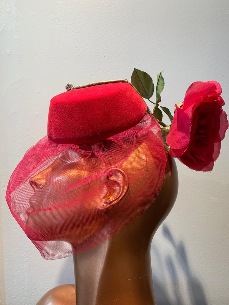 1960s Sally Victor Shocking Pink Toy Pillbox Hat W/ Extravagant Silk Rose & Veil For Sale 2
