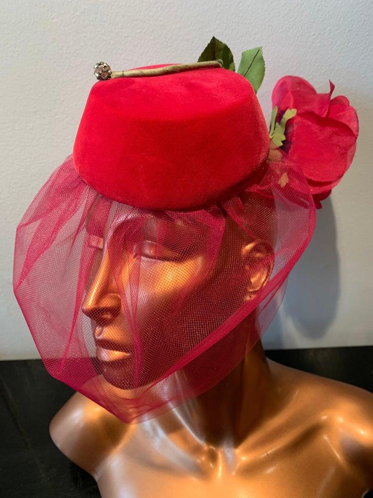 1960s Sally Victor Shocking Pink Toy Pillbox Hat W/ Extravagant Silk Rose & Veil For Sale 3