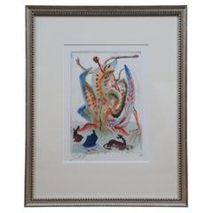 1960s Salvador Dali Divine Comedy Signed Woodcut Engraving Purgatory 23 COA