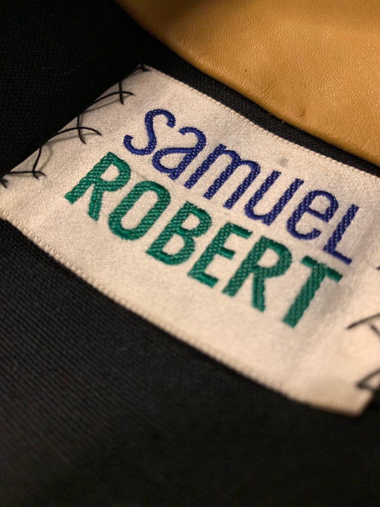 1960s Samuel Robert Leopard Stenciled Canvas Trench W/ Leather Collar Details For Sale 11