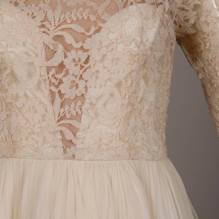 Women's 1960s Sandra Sage Vintage Cream Nude Illusion Lace + Silk Chiffon Dress For Sale