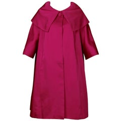 1960s Sandra Sage Vintage Fuchsia Pink Silk Satin Swing Coat with Pop Up Collar