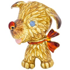 1960's Vintage Enamel Sapphire 14 Karat Gold Puppy Dog Brooch