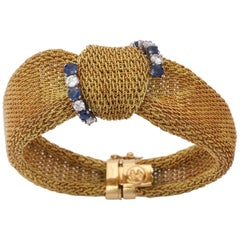 1960s Sapphire and Diamond Modified Bow Design Textured Ridge Gold Mesh Bracelet