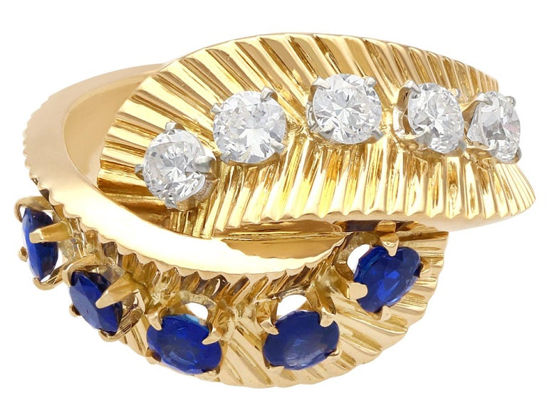 Women's or Men's 1960s Sapphire and Diamond Yellow Gold Ring by Van Cleef & Arpels For Sale