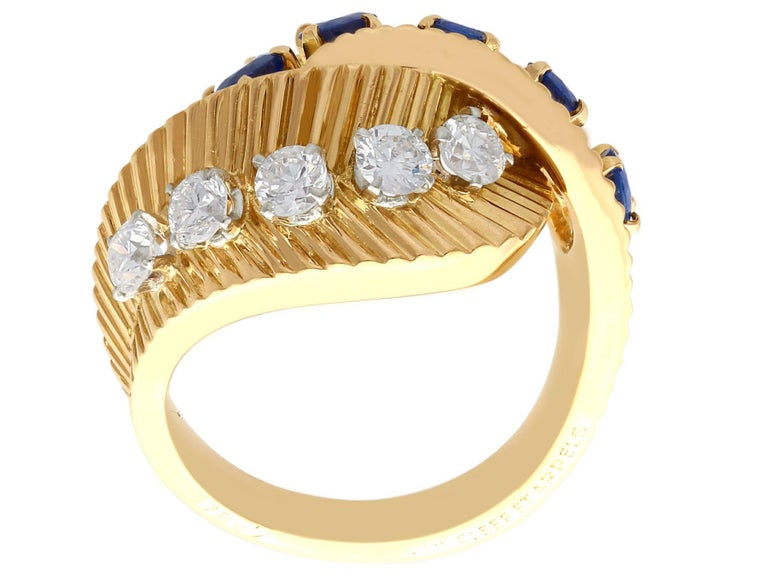1960s Sapphire and Diamond Yellow Gold Ring by Van Cleef & Arpels For Sale 1