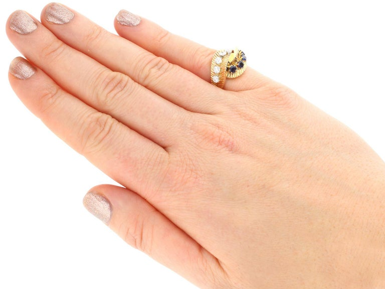 1960s Sapphire and Diamond Yellow Gold Ring by Van Cleef & Arpels For Sale 4