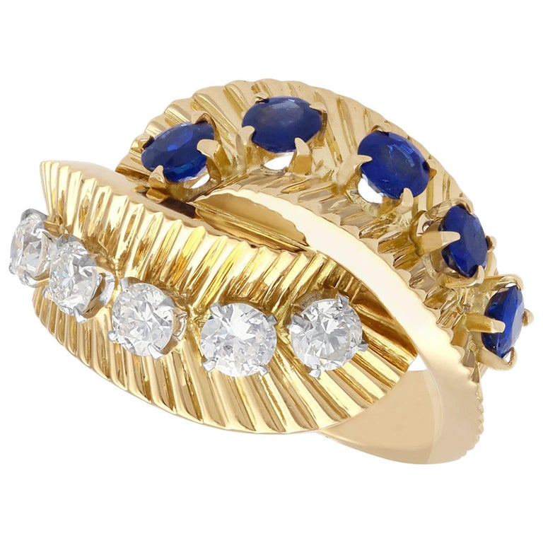 1960s Sapphire and Diamond Yellow Gold Ring by Van Cleef & Arpels For Sale
