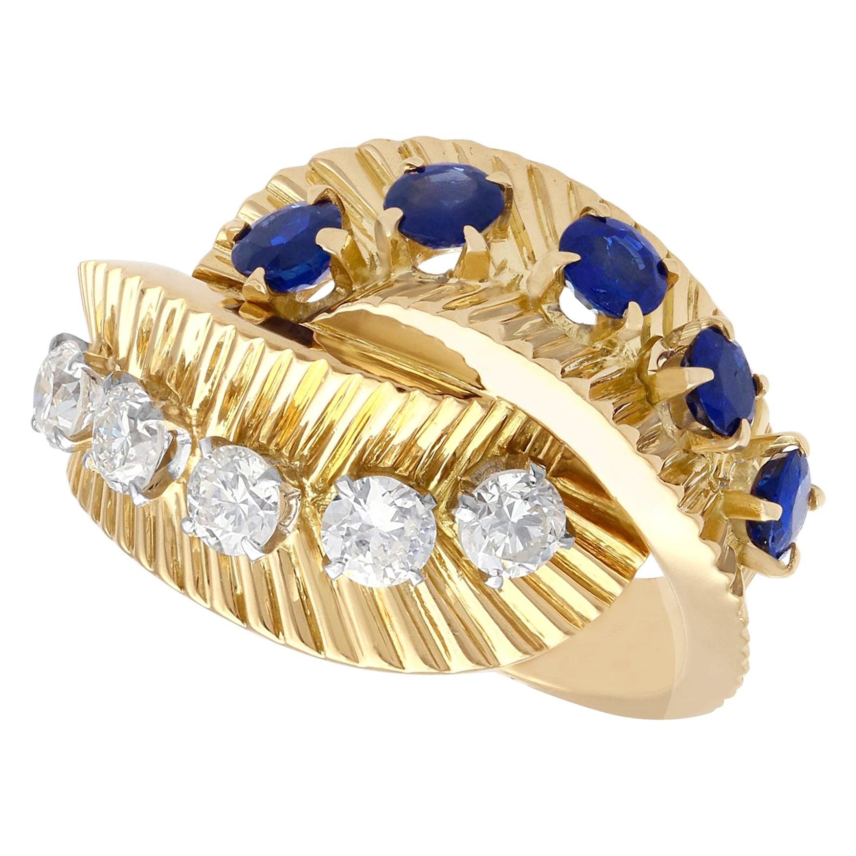 1960s Sapphire and Diamond Yellow Gold Ring by Van Cleef & Arpels
