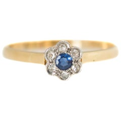 1960s Sapphire, Diamond and 18 Karat Gold Two-Tone Floral Ring