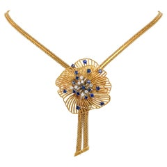 1960's Sapphire Diamond Gold Starburst Necklace