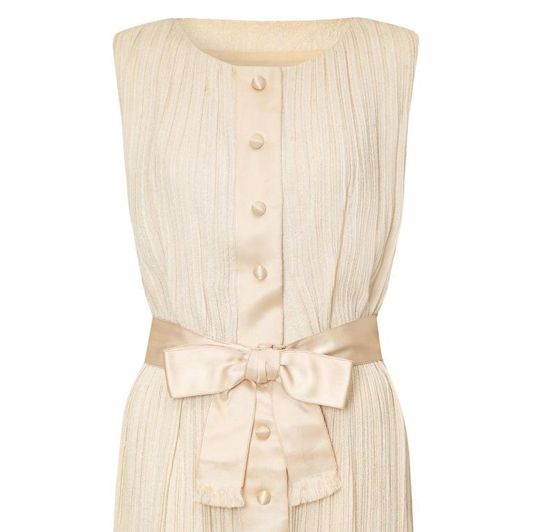 a549740ccad28 1960s Sarmi Cream Silk Evening or Bridal Dress For Sale at 1stdibs