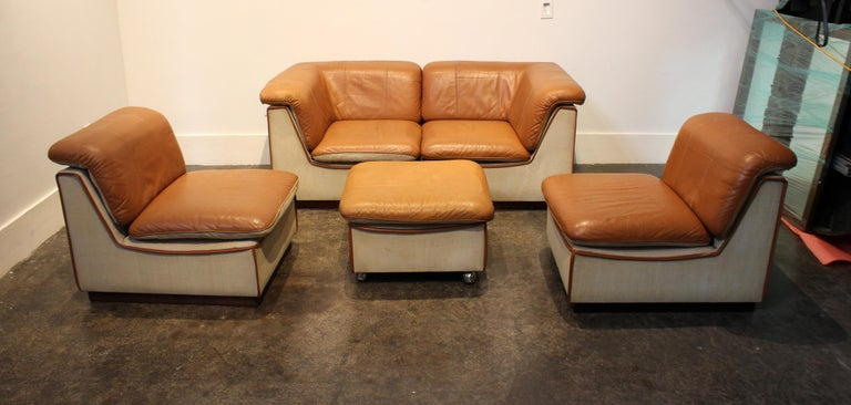 1960s Scandinavian Leather and Linen Modular Sectional ...