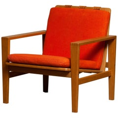 1960s Scandinavian Lounge Easy Chair in Oak / Leather by Erik Merthen for Ire