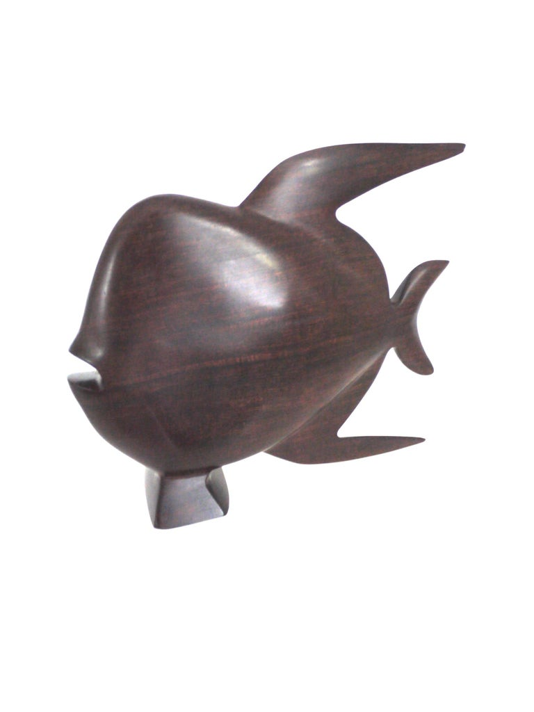 1960s Scandinavian Modern Ironwood/Rosewood Sculpture of a Fish, Late 1950s In Good Condition For Sale In Halstead, GB