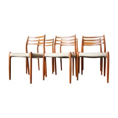 Scandinavian Modern Model 78 Teak Dining Chairs by Niels O. Moller, Set of Six
