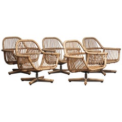 1960s Scandinavian Rattan Garden Set / Lounge Set Consist Five Swivel Chairs