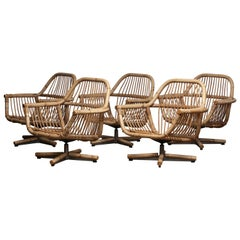 1960s Scandinavian Rattan Garden Set or Lounge Set Consist Five Swivel Chairs