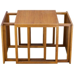 1960s Scandinavian Teak Modular Cube Cocktail Side Nesting Tables Midcentury