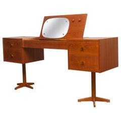 1960s, Scandinavian Vanity Dressing Table Desk in Teak and Brass Sweden