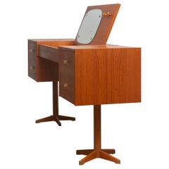 1960s, Scandinavian Vanity Dressing Table Desk in Teak and Brass Sweden