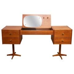 1960s, Scandinavian Vanity Dressing Table Desk in Teak and Brass, Sweden