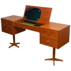 1960s, Scandinavian Vanity Dressing Table Desk in Teak with Brass Details F